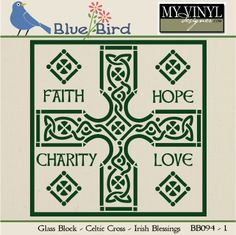 DIGITAL DOWNLOAD ... Celtic Glass Block Vector in AI, EPS, GSD, & SVG formats @ My Vinyl Designer #myvinyldesigner #bluebird