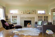 Family Room - I like the idea of windows on the fireplace wall but I think our fireplace is disproportionate and the windows would be a) too small to really add much light and b) maybe too busy?