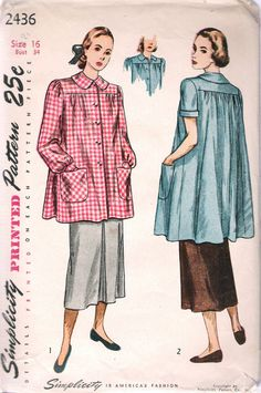 """Vintage 1948 Simplicity 2436 Women's Smock in Two Lengths Sewing Pattern Size 16 Bust 34"""" by Recycledelic1 on Etsy"""