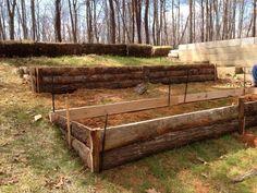 Terraced Garden beds - like the rough-hewn lumber