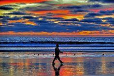 Man walks on the beach at sunset in Oceanside.