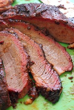 We always rub liberally with table mustard and than our homemade dry rub. Makes a nice tasty crust. Smoke slow and low til meat reaches 200 internal temp. Then wrap in foil and Put in ice chest and let rest at least 2 hr. Makes for some tasty eating! Bbq Brisket, Smoked Beef Brisket, Bbq Beef, Bbq Grill, Texas Brisket, Beef Ribs, Smoked Pork, Smoker Recipes, Grilling Recipes