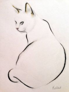 "Conte 2013 Drawing ""Cat Study - Sitting"" Like this. Conte 2013 Drawing ""Cat Study - Sitting"" Like this. Illustration Art, Illustrations, Rabbit Illustration, Inspiration Art, Cat Tattoo, Animal Drawings, Cat Art, Painting & Drawing, Watercolor Painting"