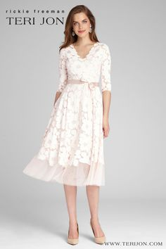The party dress of the season! This blush 3/4 sleeve lace & tulle dress is a fun and flirty option for Mother of the Bride/Groom or wedding guest. What makes this dress a perfect look for backyard weddings is its light material and delicate lace pattern. Lace Tea Length Dress, Tea Length Dresses, Tea Length Cocktail Dresses, Petite Cocktail Dresses, Cocktail Dresses With Sleeves, Petite Dresses, Mother Of Groom Dresses, Mothers Dresses, Mother Of The Bride Dresses Tea Length