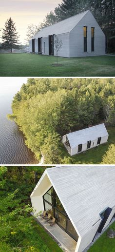 Architecture firm have designed a new modern vacation house that sits on the shores of Lac Plaisant in Quebec, Canada, and features an exterior of white cedar boards. - Have Designed A New Lakeside Vacation House In Quebec Cabinet D Architecture, Modern Architecture Design, Modern House Design, Sustainable Architecture, White House Architecture, Modern Cabin Interior, Architecture Office, Residential Architecture, Modern Barn