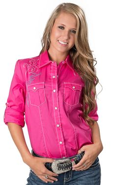Ariat® Women's Kirby Pink Long Sleeve Western Shirt | Women's ...