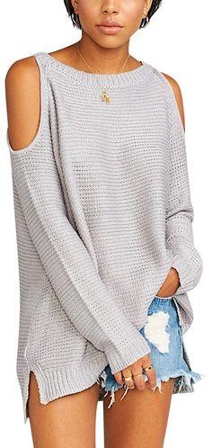 3f9f87f3fa Show Me Your Mumu Oversized Long Sleeve Maxi Tunic Gray Saltwater Light  Grey Sweater - Tradesy