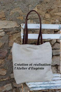 SAC EN LIN anses en cuir sac porté épaule doublé en lin ancien