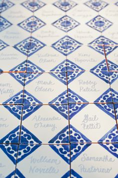 In lieu of traditional paper place cards, the couple nodded to Ojai's Spanish influences with their ceramic tile place markers. Wedding Seating, Wedding Table, Wedding Reception, Wedding Venues, Portuguese Wedding, Classic Wedding Gowns, Wedding Dresses, Making A Wedding Dress, Brunch Decor