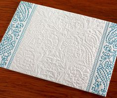 The pattern of your choice is impressed into the paper without any ink.