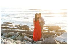 Long Flowy Red Dress for the Bride to Be | Romantic Sunset | La Jolla Cove Beach Engagement | San Diego Photographer | © Kristine Marie Photography.com | www.kristinemariephotogrpahy.com