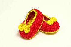 Red baby ballerina shoes crochet booties baby booties #red #baby #newborn #girl #boties #shoes #handmade #corchet #babyshower