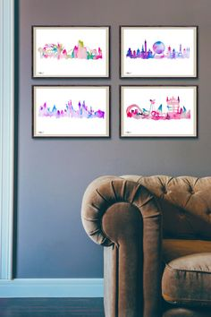 Please note, these items are prints of original paintings.  A 4 pack of my first series of Disney inspired theme park watercolour skyline prints.