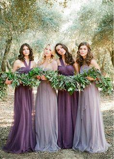 Elegant Tulle One Shoulder Neckline Full-length A-line Convertible Bridesmaid Dress