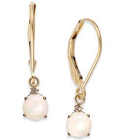 Opal Leverback Earrings in 14k Gold (3/4 ct. t.w.)