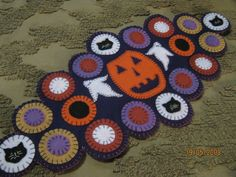 Primitive Halloween Wool Applique Ghosts Cats Jack O'Lantern Penny Rug Runner #NaivePrimitive #Seller