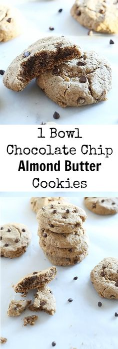 Nothing is better than only needing 1 bowl to make your cookies! These 1 bowl Chocolate Chip Almond Butter Cookies are SUPER easy to make, Vegan and Gluten Free, only 7 ingredients and completely melt in your mouth! / TwoRaspberries.com