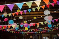 Wedding barn lighting pom poms Ideas for 2019 Wedding Bunting, Barn Wedding Venue, Card Box Wedding, Festival Themed Party, Festival Wedding, Rainbow Bunting, Holi Party, Rainbow Party Decorations, Paper Pom Poms