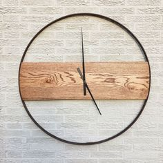 Reclaimed Oak and Iron Clock by sBoliver Designs reclaimed, ecofriendly, wood, oak, wagon wheel, buggy wheel, vintage, modern, rustic, minimal