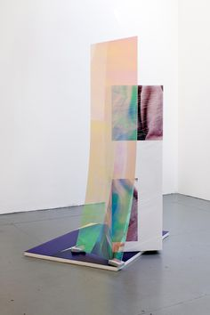 Anouk Kruithof Sweaty Sculpture (back) , 167 x 90 x 107 cm, photo-stickers on polystyrene, cellophane, sponges, radiant plexiglass
