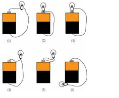 Shown below are six arrangements of a bulb, battery, and one or two copper wires. Description from chegg.com. I searched for this on bing.com/images