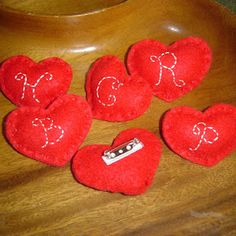 Little Monogrammed Felt Heart Pins I made for Valentines. Fast, fun (and cheap) to make. :)