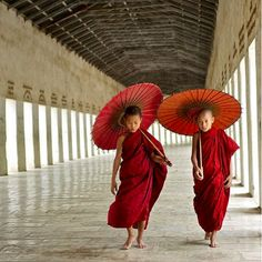 In Tibet and Myanmar red / maroon robes are traditionally worn