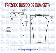 KiVita MoYo: CAMISETA BASICA A MEDIDA Sewing Clothes, Diy Clothes, Sewing Hacks, Sewing Projects, Clothing Patterns, Sewing Patterns, Sewing Dresses For Women, Learn To Sew, How To Make
