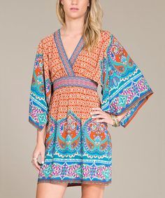 Look what I found on #zulily! Rust & Turquoise Paisley Empire-Waist Dress #zulilyfinds