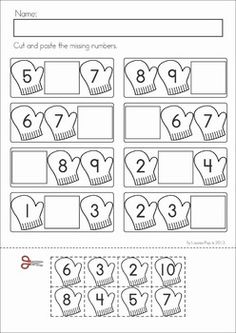 Kindergarten Winter Math Worksheets & Activities - Winter No Prep. A page from the unit: mittens missing numbers cut and paste