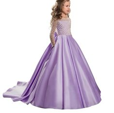 2019 Summer Girls Dress Long Sleeve Party Dress Elegant Wedding Dress For Girls Kids Clothes Clothing Princess Dress 10 12 Year - Dresses Fashion Flower Girls, Wedding Flower Girl Dresses, Elegant Wedding Dress, Little Girl Dresses, Girls Dresses, Pageant Dresses, Dress Wedding, Blue Dresses, Tulle Ball Gown