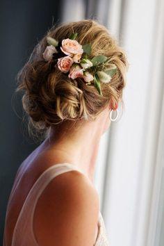 Fresh flower hair accent // wedding accessory