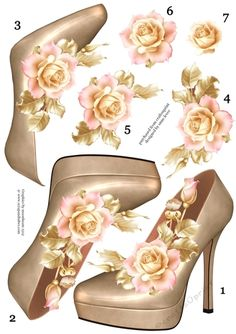 Stunning Shoe & Soft Pink Roses Decoupage Sheet By Anne Lever
