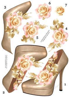 Stunning Shoe & Soft Pink Roses Decoupage Sheet | Craftsuprint