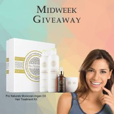 For this week's Midweek Giveaway, one lucky winner will get a FREE Pro Naturals Moroccan Argan Oil Hair Treatment Kit. Valued at $150.
