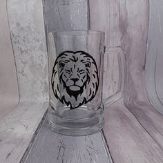 Hand painted lion glass beer tankard Lion with mane pint Last Minute Birthday Gifts, Dog Treat Jar, Animal Silhouette, Safari Animals, Pet Gifts, Pint Glass, Gifts For Dad, Fathers Day, Lion