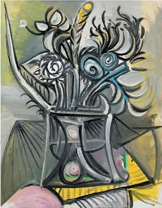 Pablo Picasso Flowers On The Table, 1969 Pablo Picasso Artwork, Pablo Picasso Quotes, Kunst Picasso, Art Picasso, Picasso Paintings, Picasso Prints, Abstract Paintings, Oil Paintings, Dora Maar
