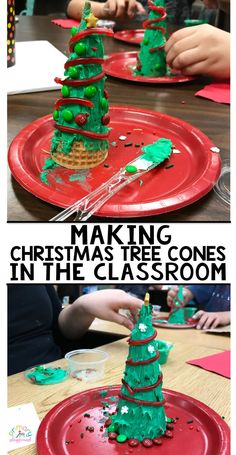How To Make Christmas Tree Cones In The Classroom sugarconetrees classchristmasparty kindergarten firstgraade 287597126192484510 School Christmas Party, Christmas Themes, Christmas Fun, Holiday Fun, Christmas Crafts For Kids To Make Toddlers, Christmas Cooking, Christmas Classroom Treats, Christmas Activities For Toddlers, Chrismas Party Ideas