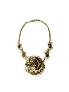 Rare Vintage Empress Eugenie Deep Red Jewelled Necklace