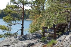 Great view from the cliff www. Outdoor Chairs, Outdoor Furniture, Outdoor Decor, Archipelago, Great View, Cliff, Bench, Park, Home Decor