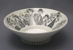 black and white - small bowl - Arabia, 'Emilia' Design - Raija Uosikkinen Ceramic Tableware, Ceramic Clay, Ceramic Painting, Ceramic Pottery, Kitchenware, Bowl Designs, Ceramic Design, Marimekko, Hand Painted Ceramics