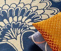 Florence Broadhurst rug with our Salon cushion fabric