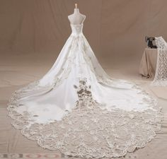 Gold-line Beaded Wedding dress royal vintage tube top luxury long trailing wedding dress 2013 #ShopSimple