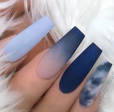 Excellent Matte Blue Shades with Ombre and Marble Effect on long Coffin Nails acrylic nails coffin - Marble Acrylic Nails, Coffin Nails Matte, Aycrlic Nails, Summer Acrylic Nails, Blue Matte Nails, Navy Blue Nails, Blue Ombre Nails, Summer Nail Polish, Matte Nail Art