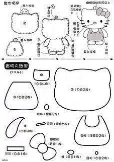 !!!!♥ Feltro-Aholic Moldes e tutoriais em feltro: Molde da Hello Kitty
