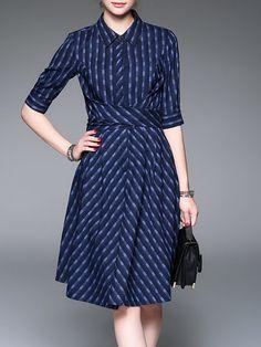Shop Midi Dresses - Half Sleeve Basic Cotton-blend Midi Dress online. Discover unique designers fashion at StyleWe.com.