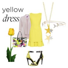 """""""LaLa Land..Yellow Dress.."""" by marlenajo-b ❤ liked on Polyvore featuring French Connection, Oscar de la Renta, Proenza Schouler, Christian Dior, Cara, Laura Cole, yellowdress and lalaland"""