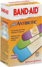 Band-Aid Adhesive Bandages Plus Antibiotic Assorted Neon Colors: Box of 20, $4.49 #Bandaid_Plus