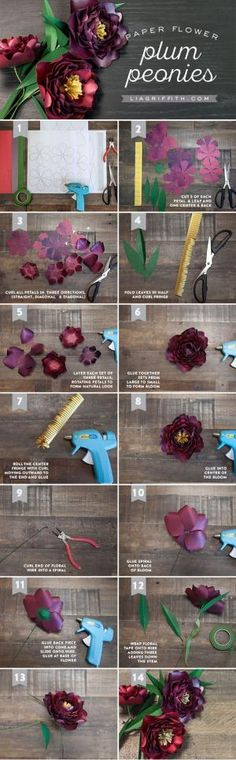 Gardening Flowers DIY Paper Peony Tutorial by MichaelsMakers Lia Griffith - Make your own paper flowers with this stunning pattern and tutorial for paper peonies by handcrafted lifestyle expert Lia Griffith. Tissue Paper Flowers, Felt Flowers, Diy Flowers, Fabric Flowers, Wedding Flowers, Peony Flower, Diy Fleur Papier, Diy Papier, Fleurs Diy