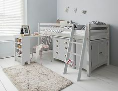 Outstanding 8 Best Amazing Functional Bed Design Ideas For Your Bedroom Many people are still trivial in choosing a bed for the room. In fact, a bed that has the right function can greatly support the comfort of your rest. Childrens Mid Sleeper Beds, Mid Sleeper Cabin Bed, Childrens Cabin Beds, Childrens Rooms, Girls Cabin Bed, Cabin Bed With Desk, Cabin Beds For Kids, Box Room Bedroom Ideas, Room Design Bedroom